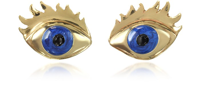 Blue Enamel Eye Bronze Earrings - Bernard Delettrez