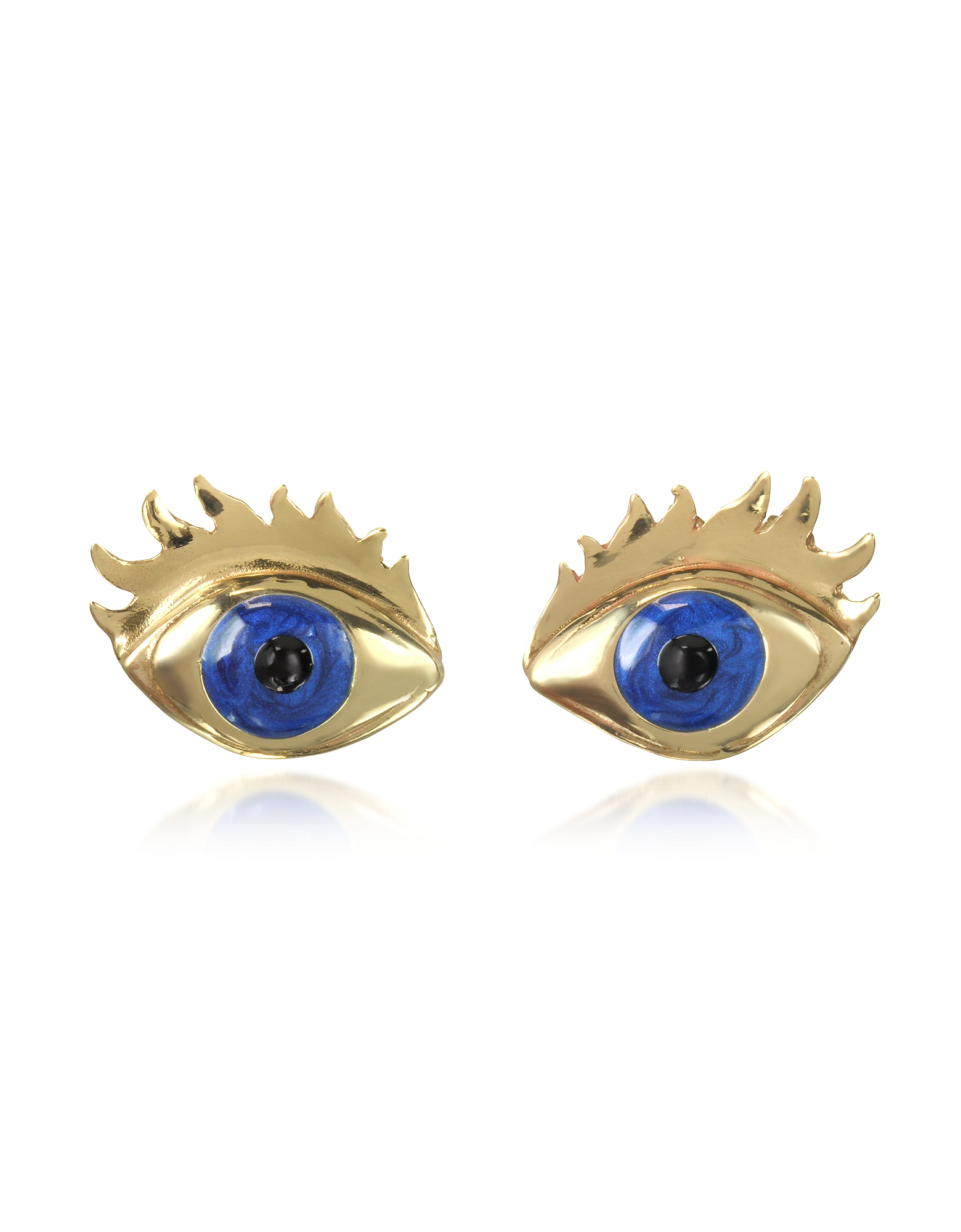 Bernard Delettrez Designer Earrings, Blue Enamel Eye Bronze Earrings