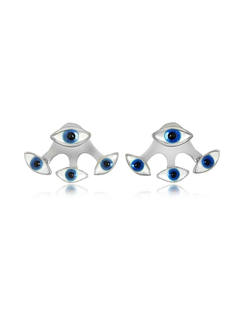 Four Eyes Silver Earrings
