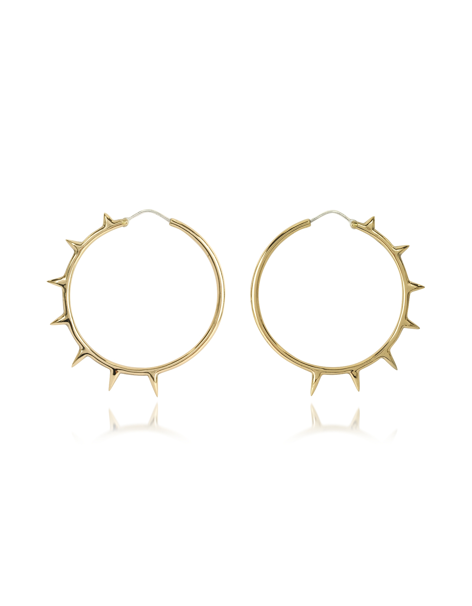 Bernard Delettrez Earrings, Bronze Hoop Earrings w/Spikes