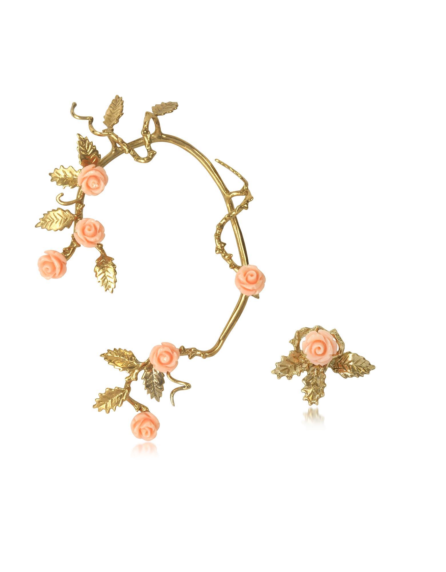 Бронзовая Серьга Кафф с Бледно-розовыми Розами из Смолы
