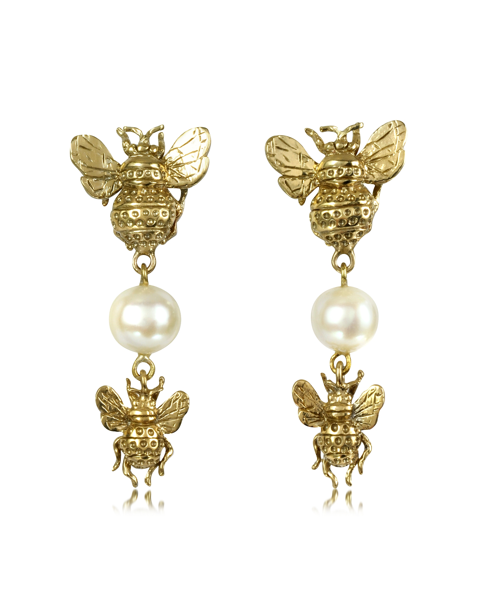 Bernard Delettrez Earrings, Bees and Pearls Bronze Earrings