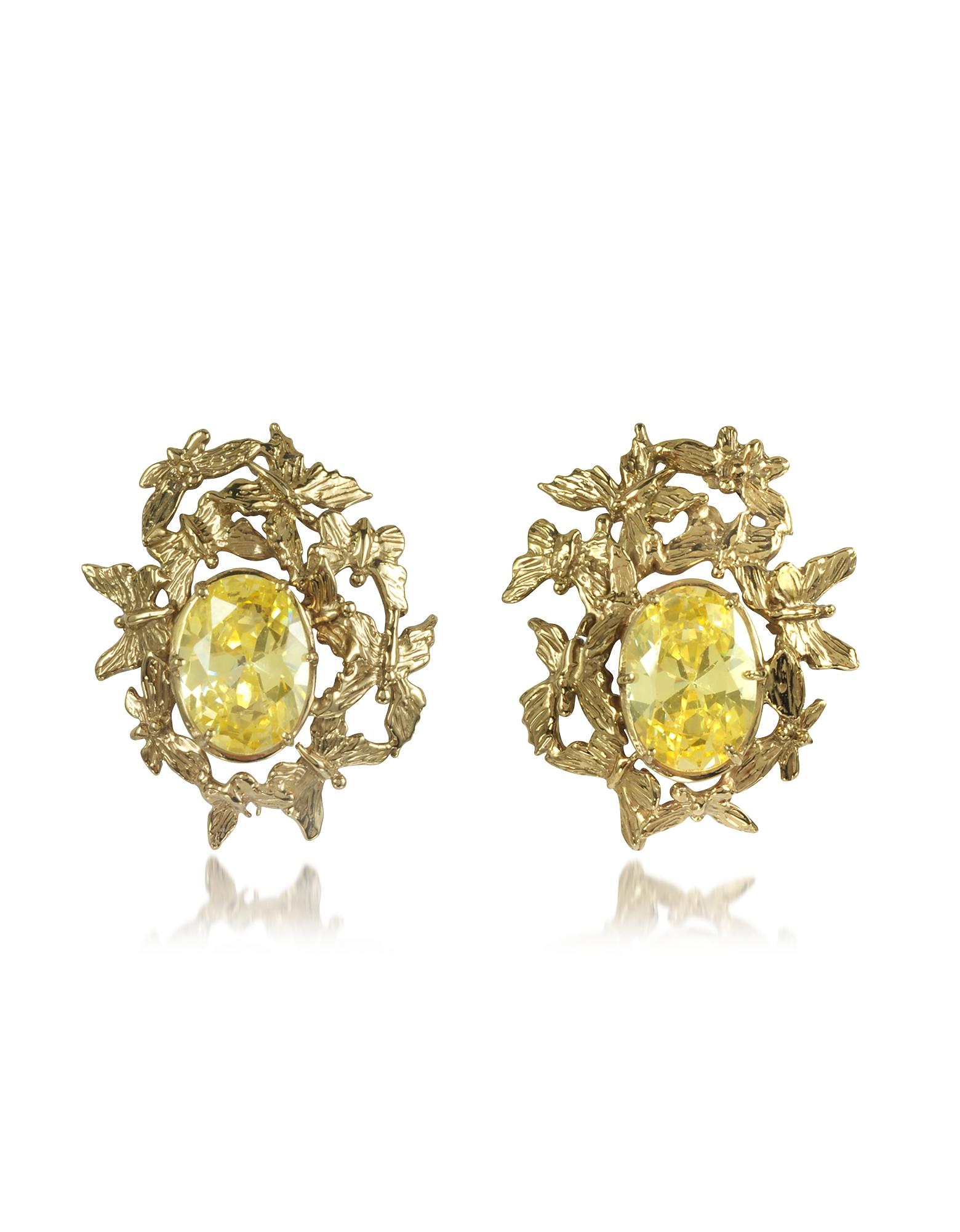 Bernard Delettrez Earrings, Butterflies Bronze Earrings w/Yellow Zircons
