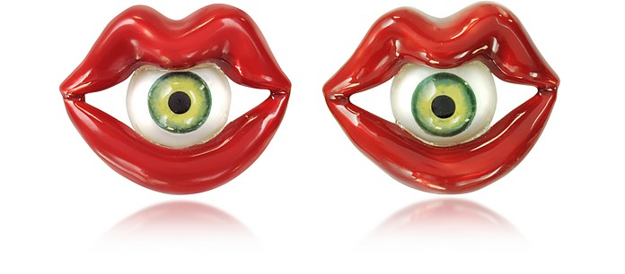 Red Enamel Bronze Mouth Earrings w/Eye - Bernard Delettrez