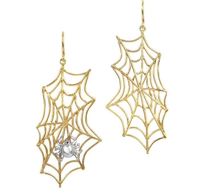 Spiderweb Bronze and Silver Earrings - Bernard Delettrez