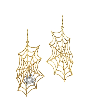 Spiderweb Bronze and Silver Earrings