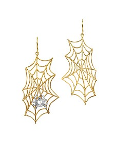 Spiderweb Bronze and Silver Earrings - Bernard Delettrez