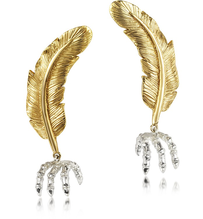 Bronze Feather w/Silver Claw Earrings - Bernard Delettrez