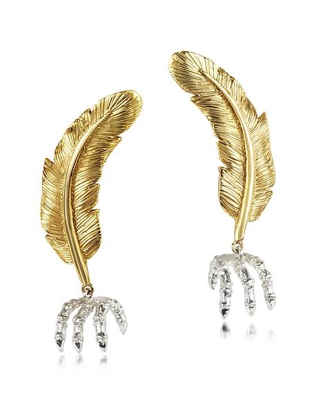 Bernard Delettrez Boucles d'oreilles plumes en bronze
