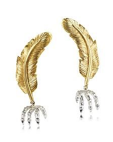 Boucles d'oreilles plumes en bronze - Bernard Delettrez