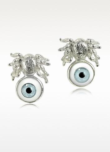 Silver Spider Earrings w/Blue Eye - Bernard Delettrez