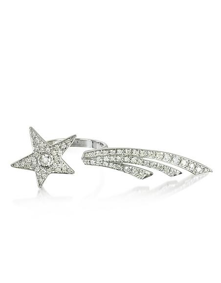 Bernard Delettrez Zwei Finger Sternschuppen Ring aus 9k Weißgold mit Diamanten