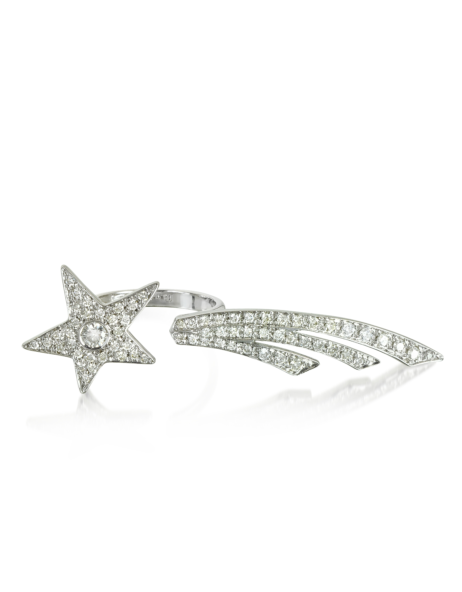 Bernard Delettrez Rings, Two Fingers Shooting Star 9K White Gold Ring w/Diamonds