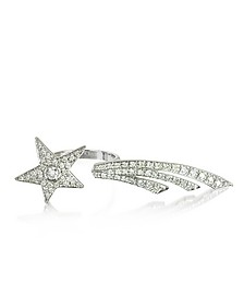 Two Fingers Shooting Star 9K White Gold Ring w/Diamonds - Bernard Delettrez