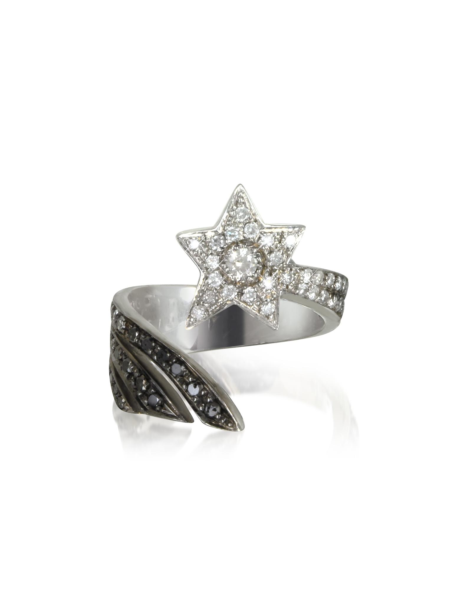 Bernard Delettrez Rings, Shooting Star 18K White Gold Midi Ring w/White, Grey and Black Diamonds