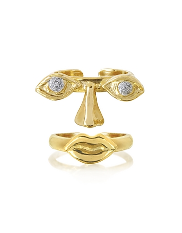 Bernard Delettrez Designer Rings, Face 9K Gold Midi Ring Two Pieces w/Eyes/Nose and Mouth bz410016-020-00