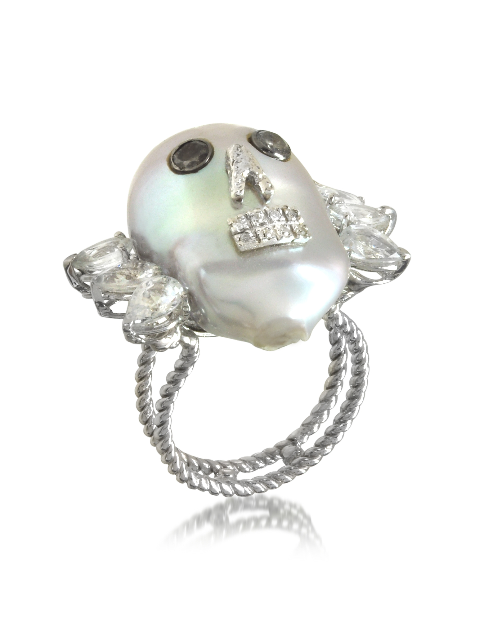 Pearl Skull 18K White Gold Ring w/Diamonds and White Sapphires