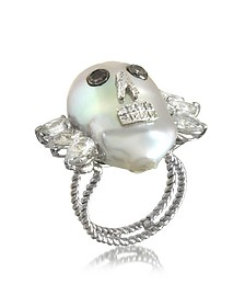 Pearl Skull 18K White Gold Ring w/Diamonds and White Sapphires - Bernard Delettrez
