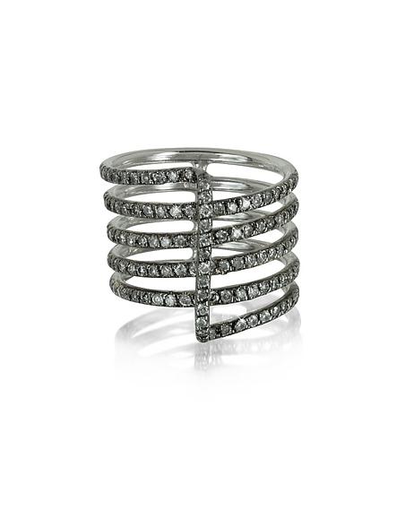 Bernard Delettrez Four Bands Ring aus 9k Weißgold mit grauen Diamanten