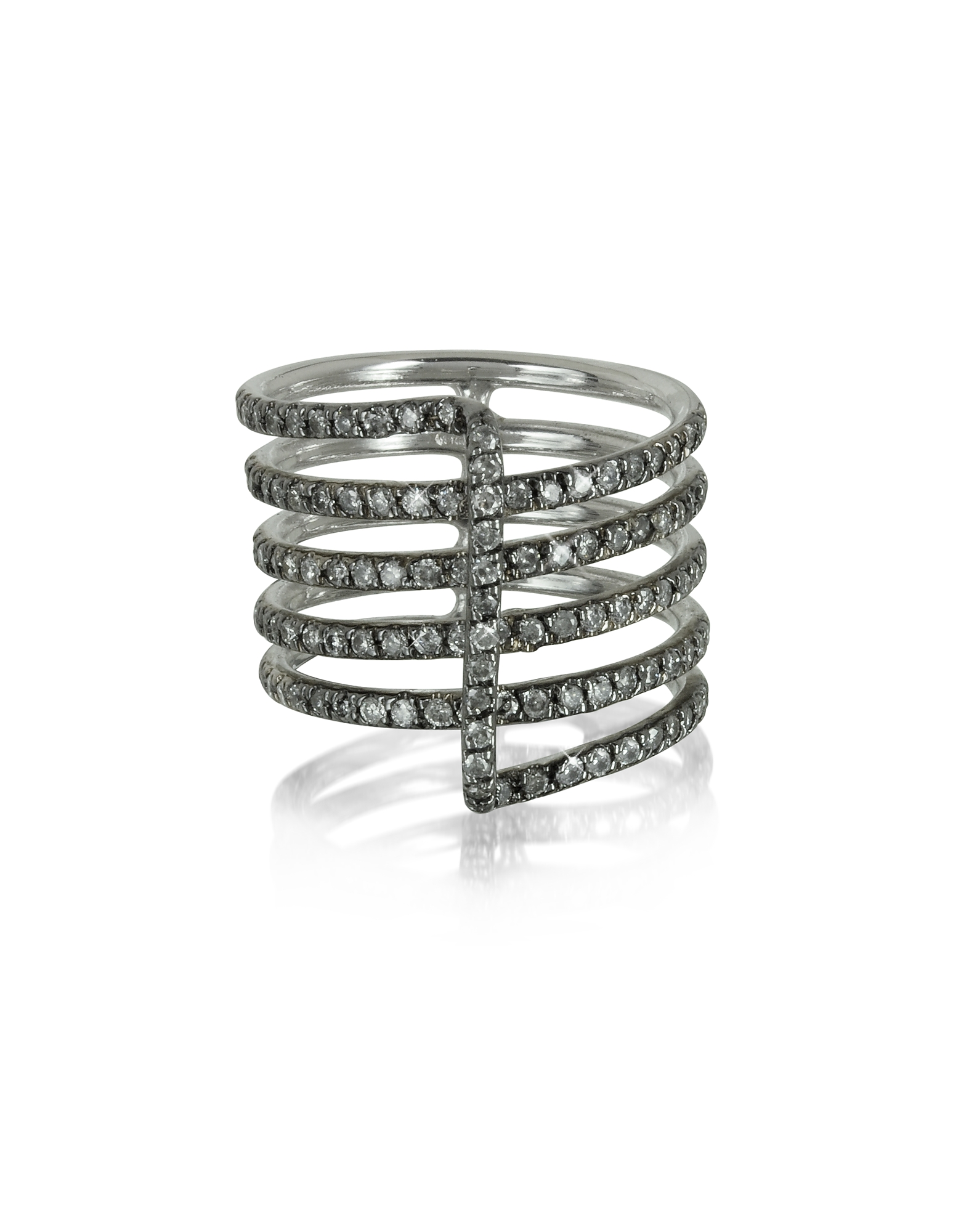 Bernard Delettrez Rings, Four Bands 9K White Gold Ring w/Grey Diamonds Pave