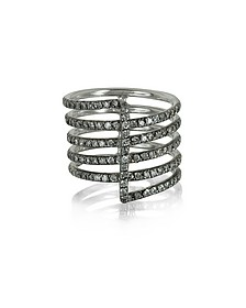Four Bands 9K White Gold Ring w/Grey Diamonds Pave - Bernard Delettrez