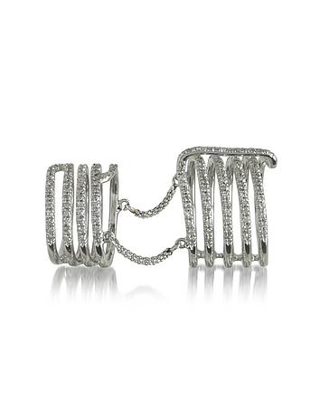 Bernard Delettrez - Seven Bands White Gold Articulated Ring w/Diamonds Pave