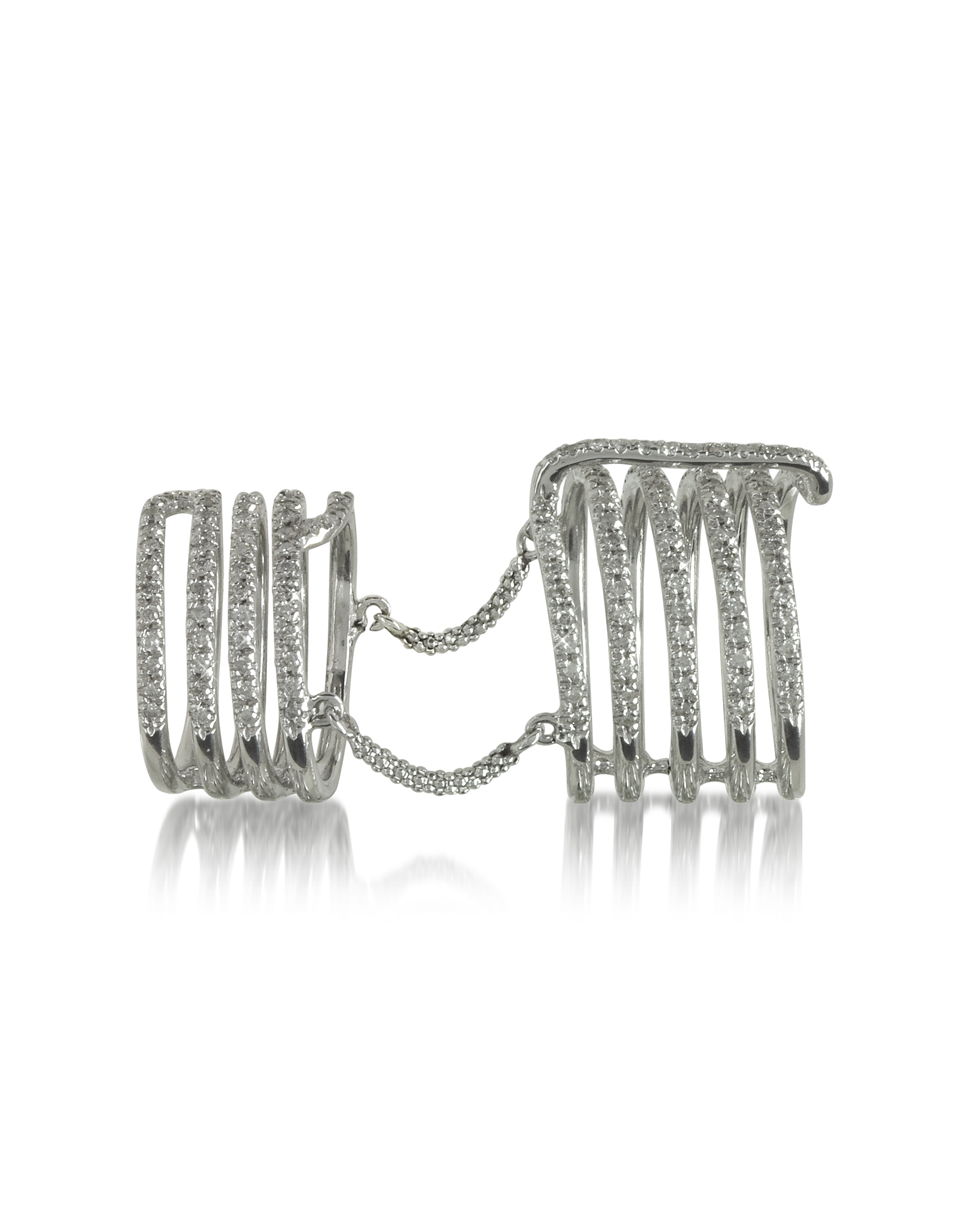 Bernard Delettrez Rings, Seven Bands White Gold Articulated Ring w/Diamonds Pave