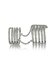 Seven Bands White Gold Articulated Ring w/Diamonds Pave - Bernard Delettrez