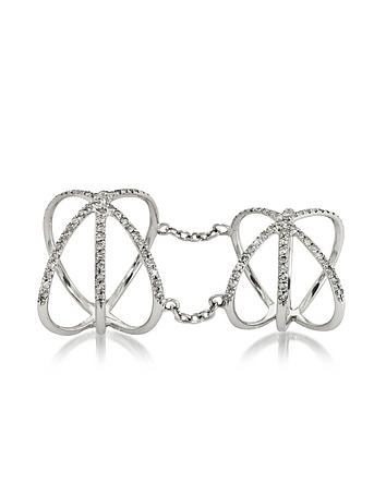 Bernard Delettrez - 18K White Gold Criss Cross Articulated Ring w/Diamonds Pave