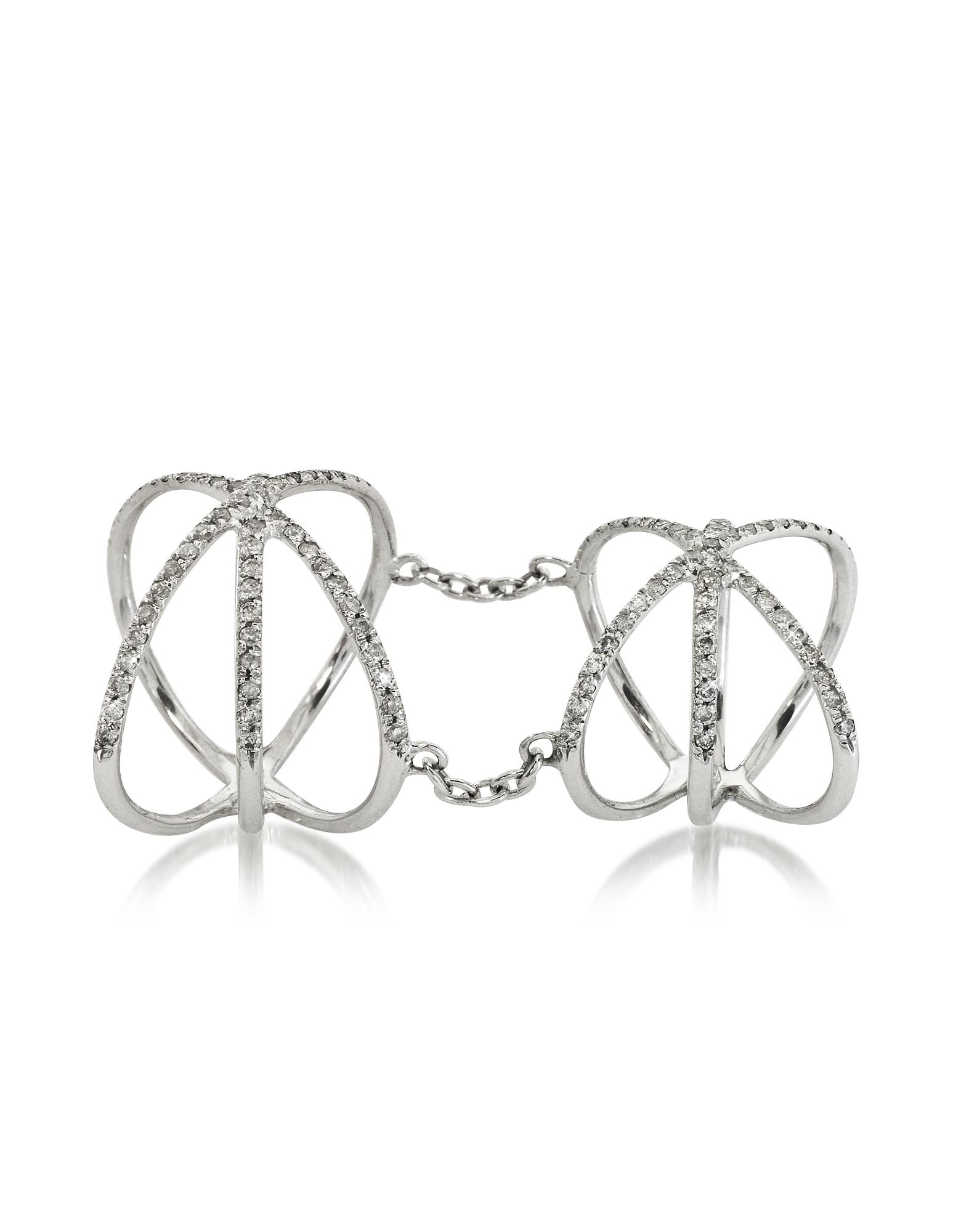 Bernard Delettrez Rings, 18K White Gold Criss Cross Articulated Ring w/Diamonds Pave