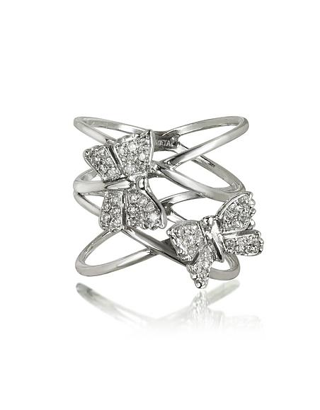Bernard Delettrez Criss Cross Ring aus 18k Weißold mit zwei Schmetterlingen und Diamanten besetzt