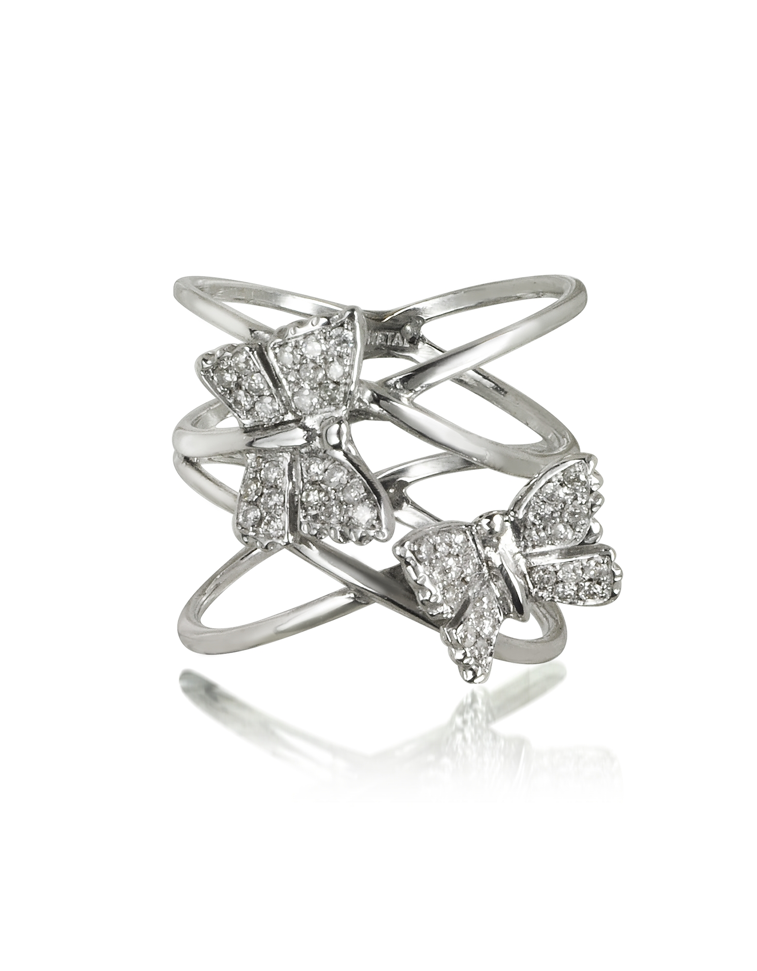 Bernard Delettrez Rings, Criss Cross 18K White Gold Ring w/Two Diamond Butterflies