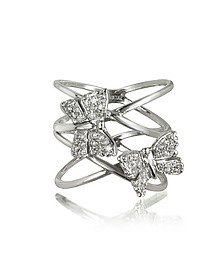 Criss Cross 18K White Gold Ring w/Two Diamond Butterflies - Bernard Delettrez