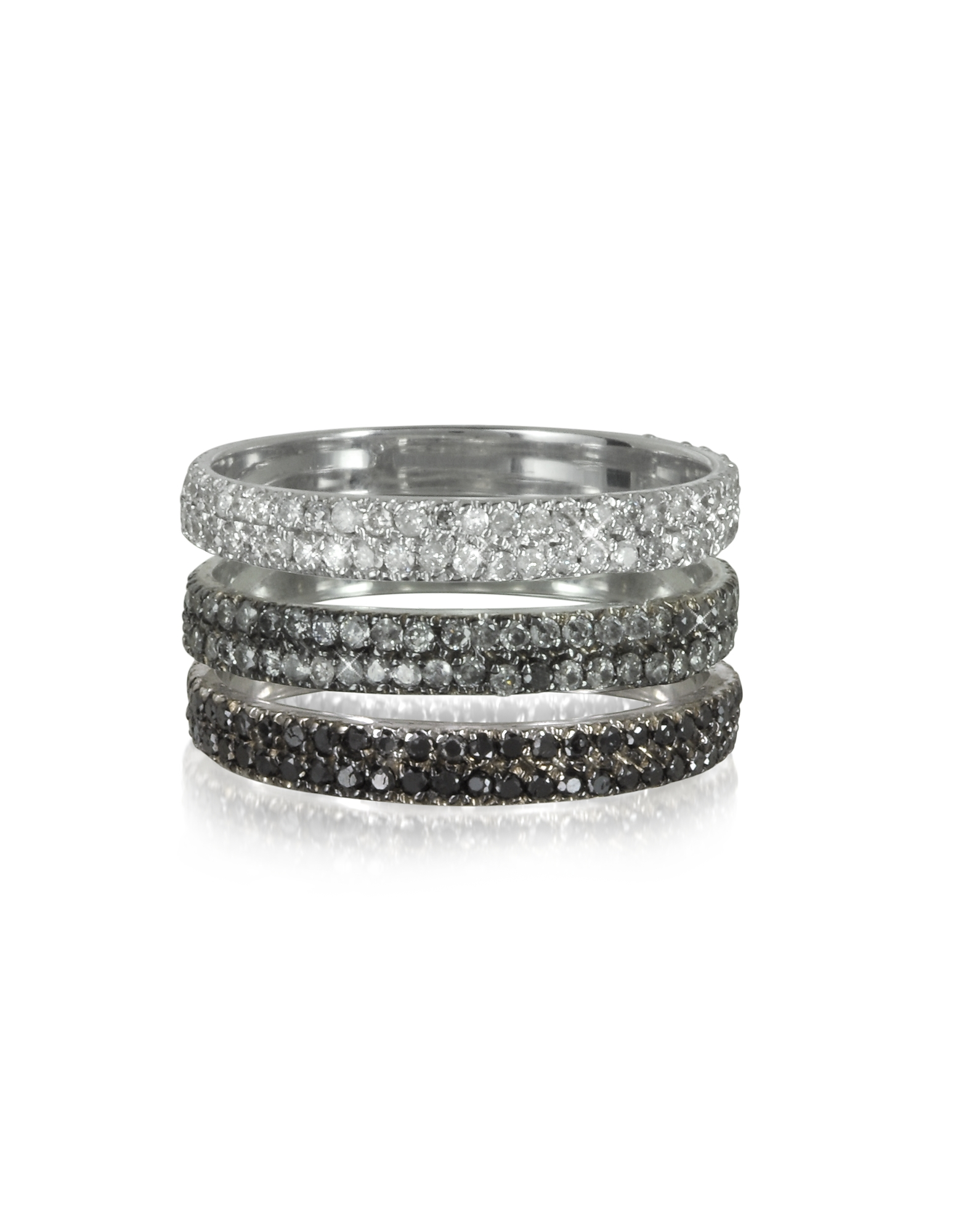 Bernard Delettrez Rings, Triple Band 18K White Gold Ring w/White, Grey and Black Diamonds