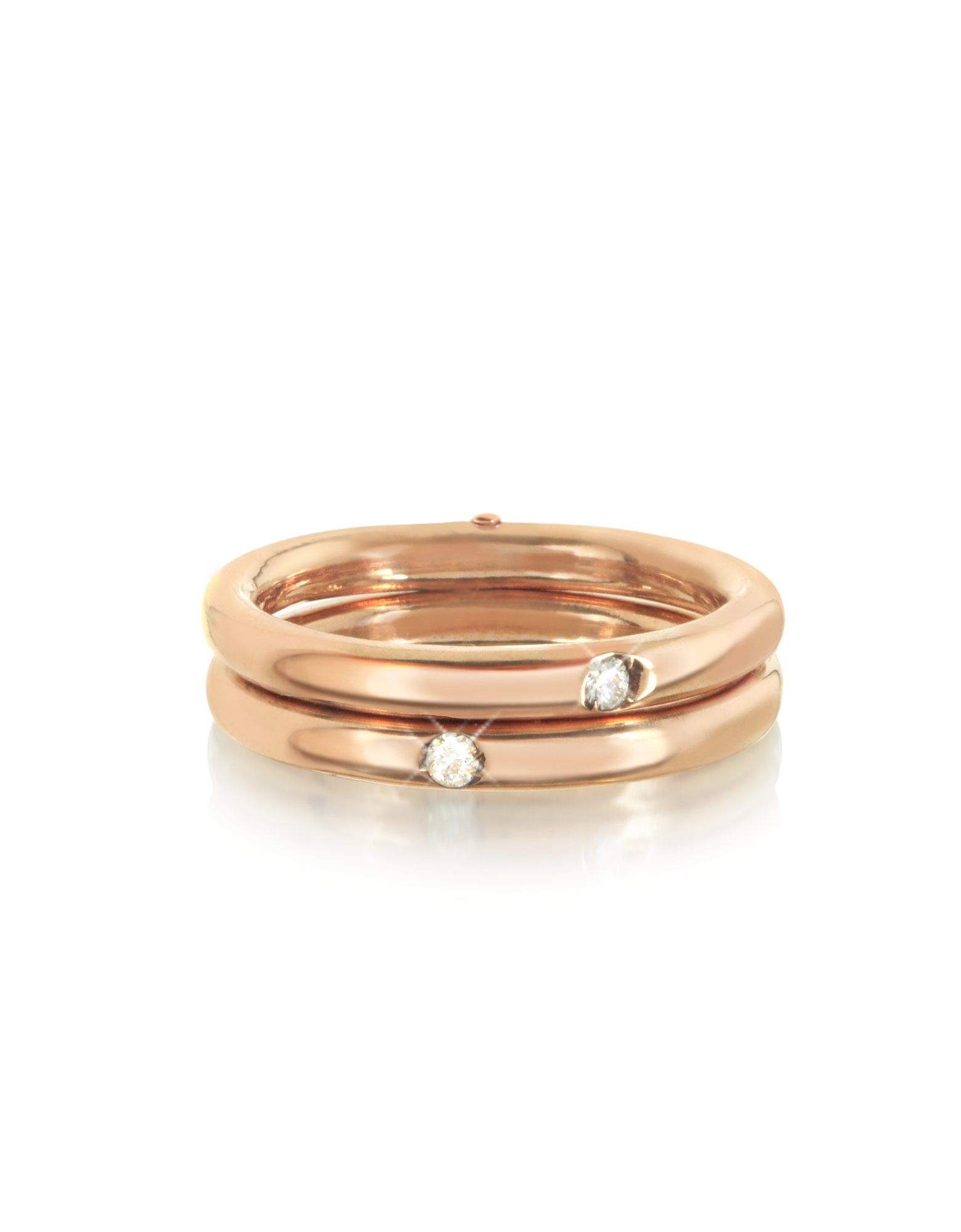 Bernard Delettrez Rings, 9K Pink Gold Double Secret Ring w/Diamonds