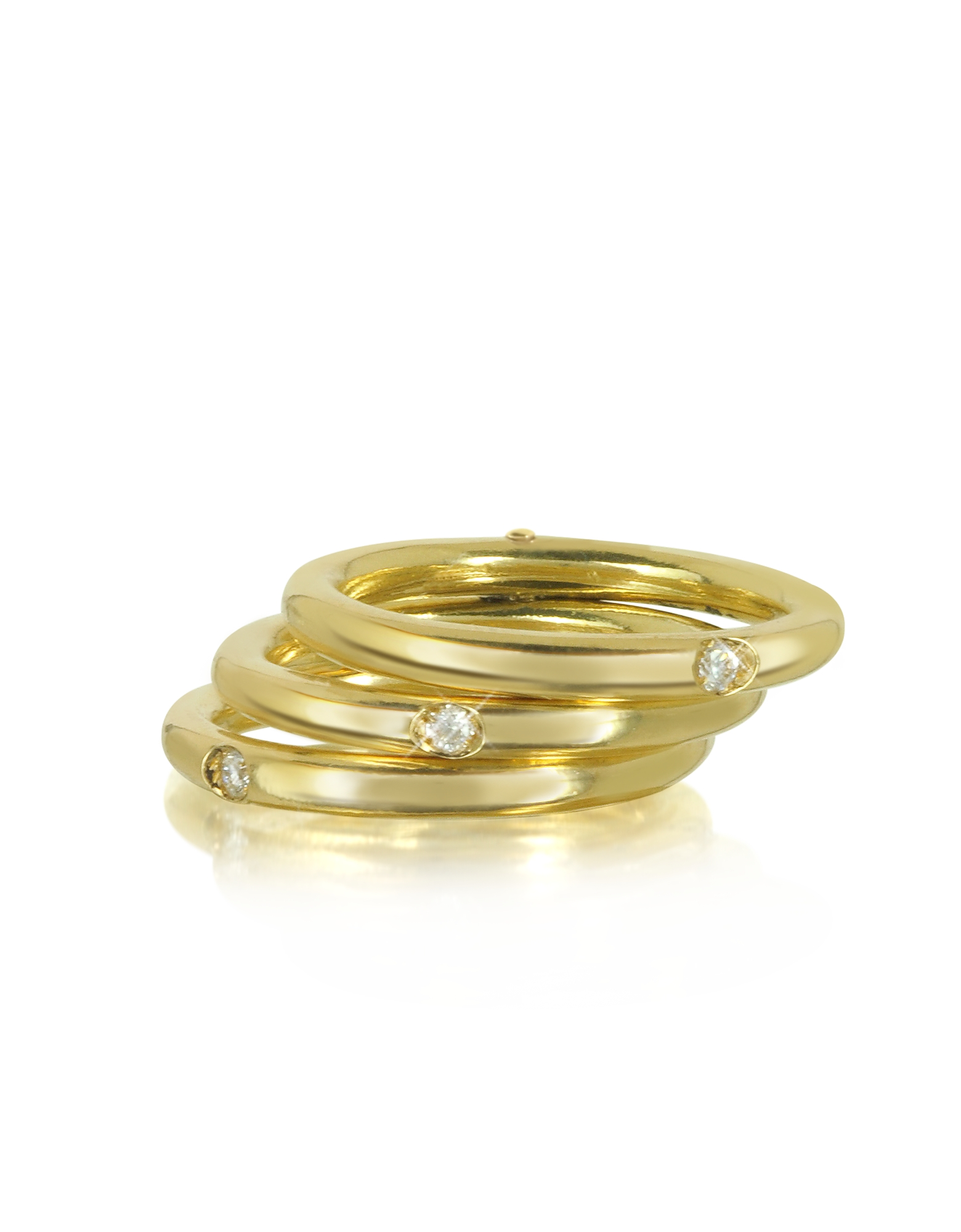 Фото Secret Ring - Тройное Кольцо из Золота 18 карат с Бриллиантами. Купить с доставкой