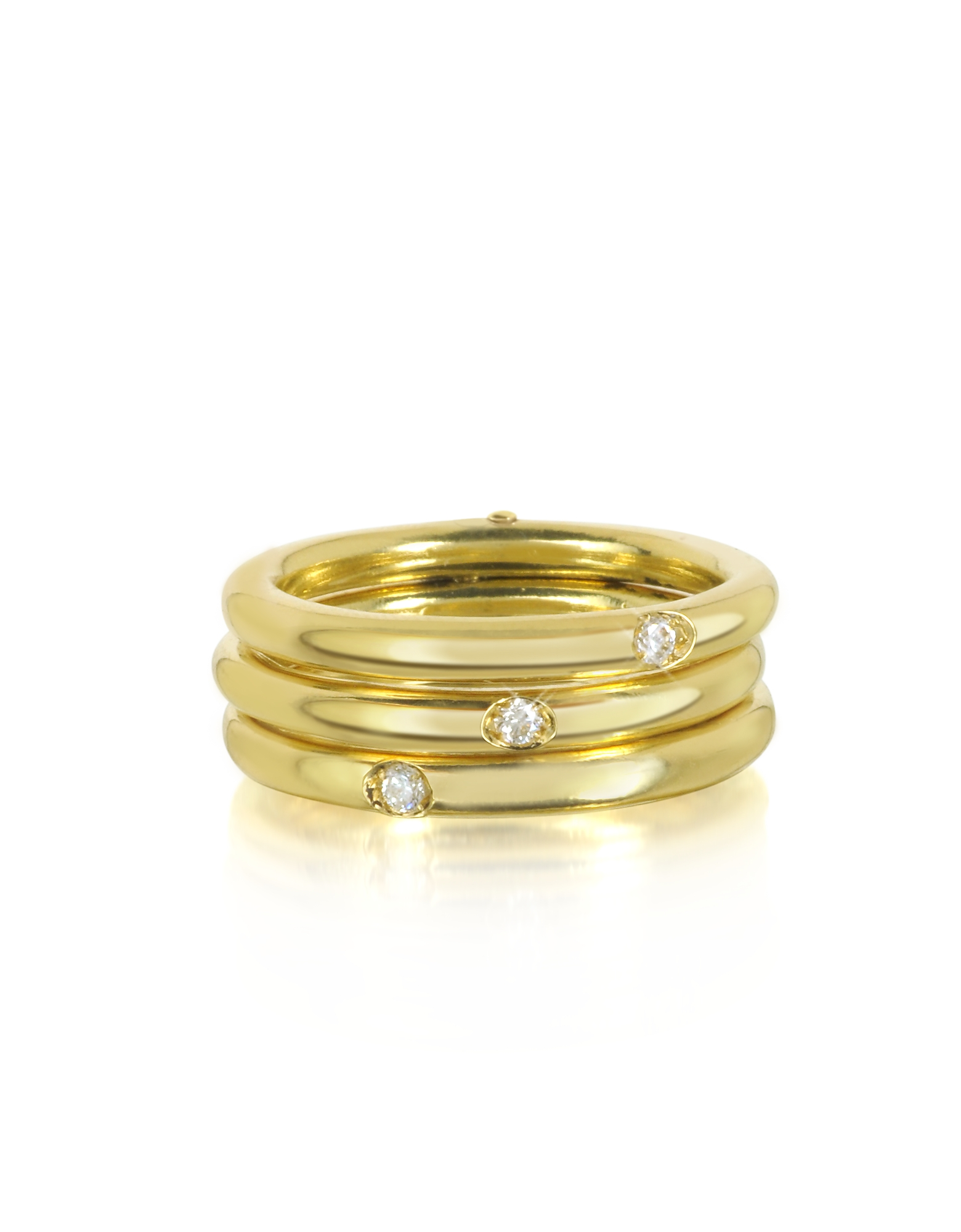 Bernard Delettrez Rings, 9K Gold Triple Secret Ring w/Diamonds
