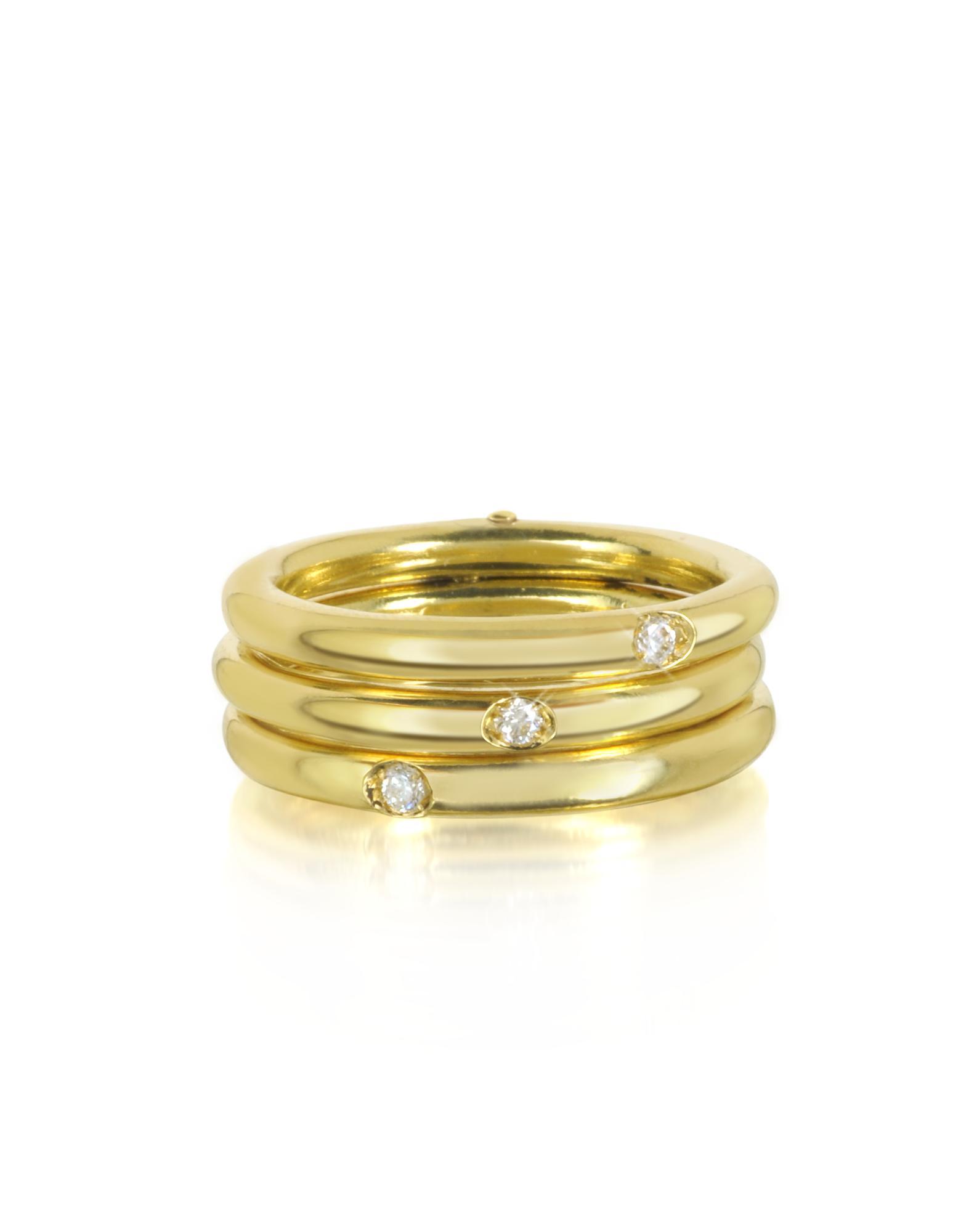 Bernard Delettrez Triple Secret Ring aus 9k Gold mit Diamanten