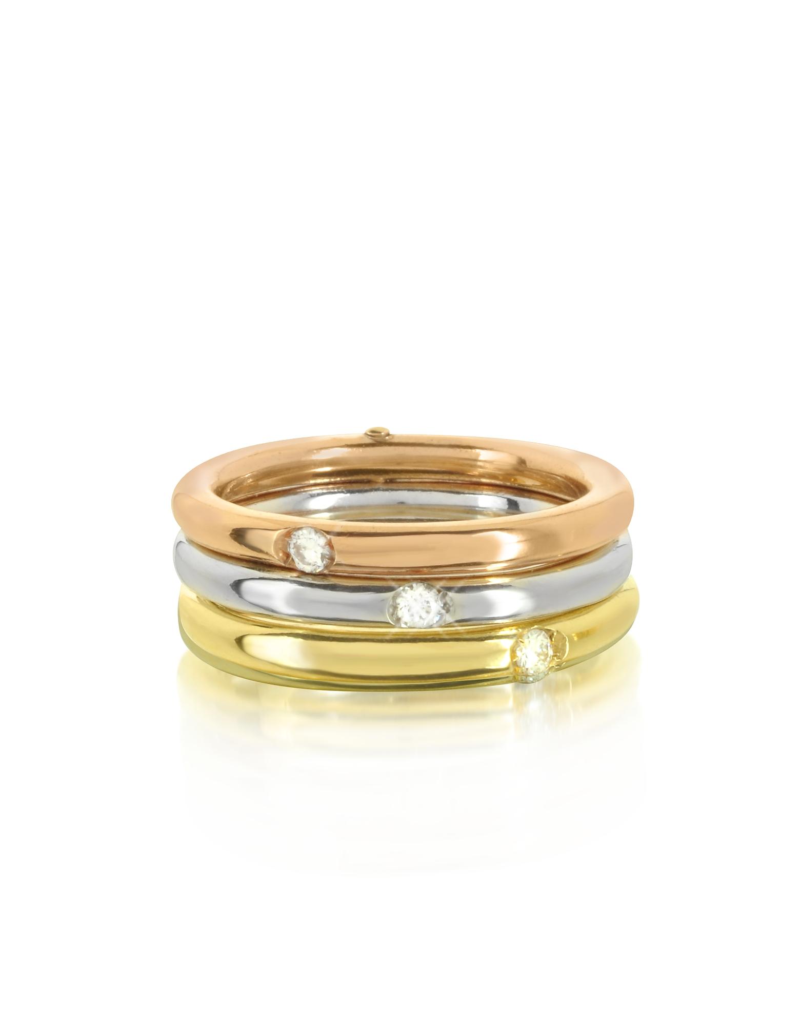 Bernard Delettrez Rings, 18K White, Yellow and Pink Gold Triple Secret Ring w/Diamonds