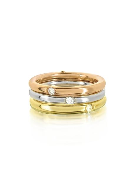 Foto Bernard Delettrez Anello Triplo in Oro Giallo, Bianco e Rosa 9 ct e Diamanti Anelli