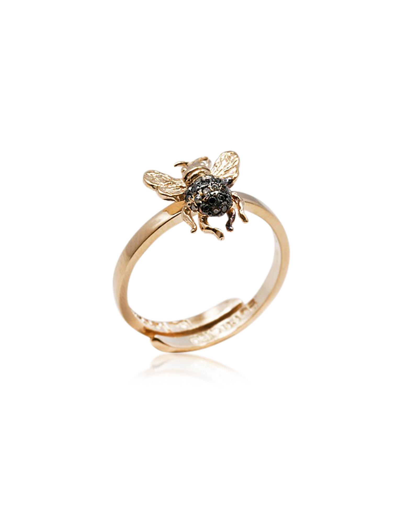 Bernard Delettrez Designer Rings, Mini Bee Gold Band Ring w/ Pavé Black & Cognac Diamonds