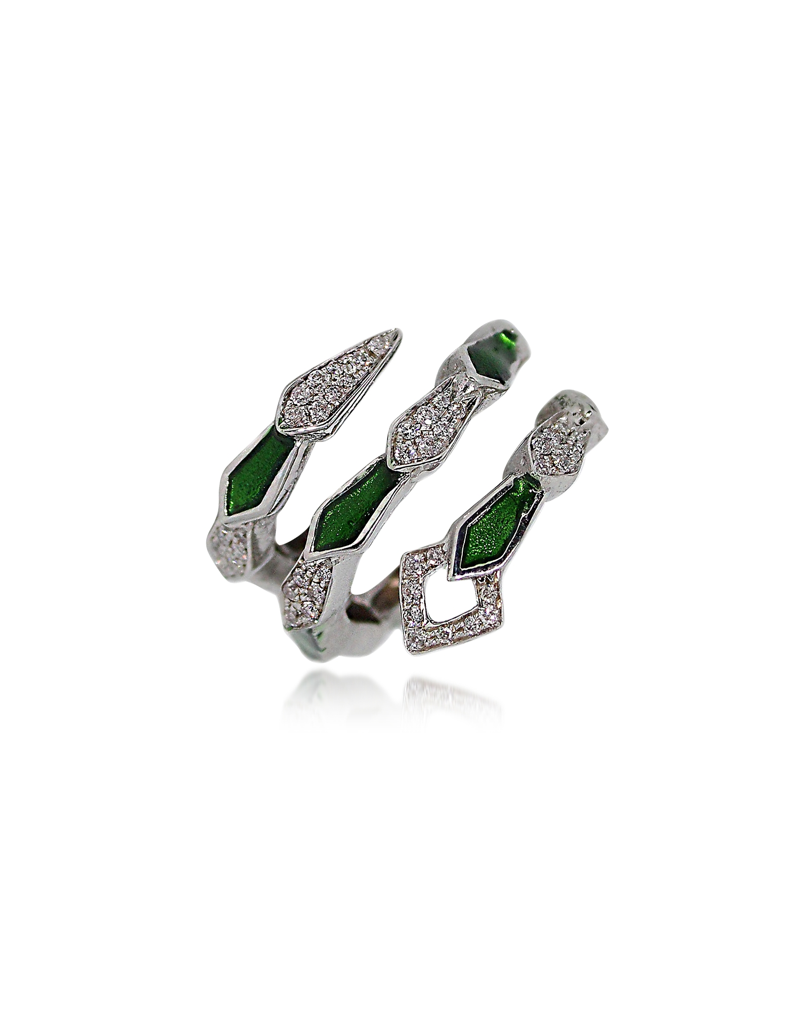 Bernard Delettrez Designer Rings, White Gold Spiral Snake Ring w/ Pavé Diamonds & Green Enamel