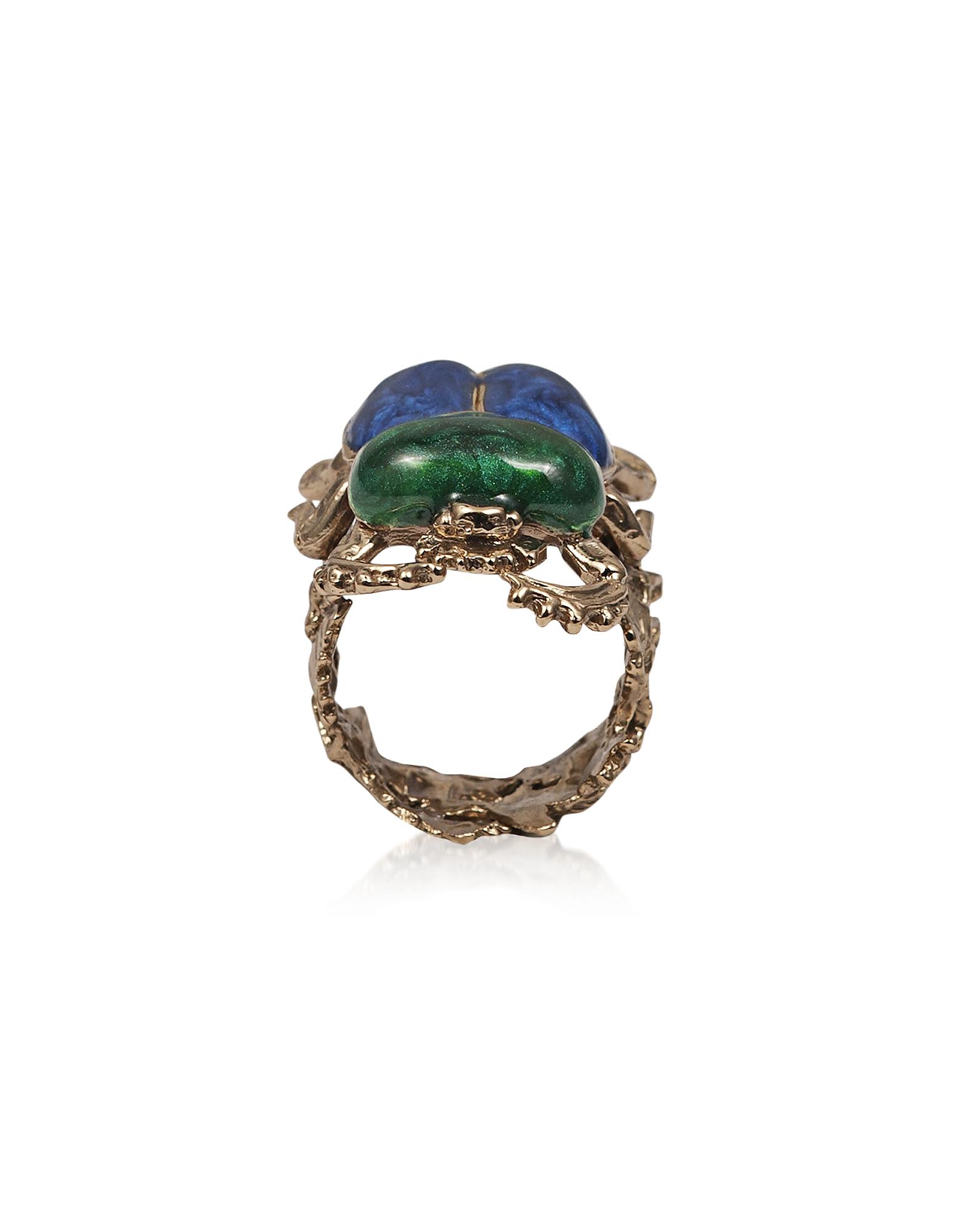 Bronze Scarab Ring w/ Hand Made Enamel