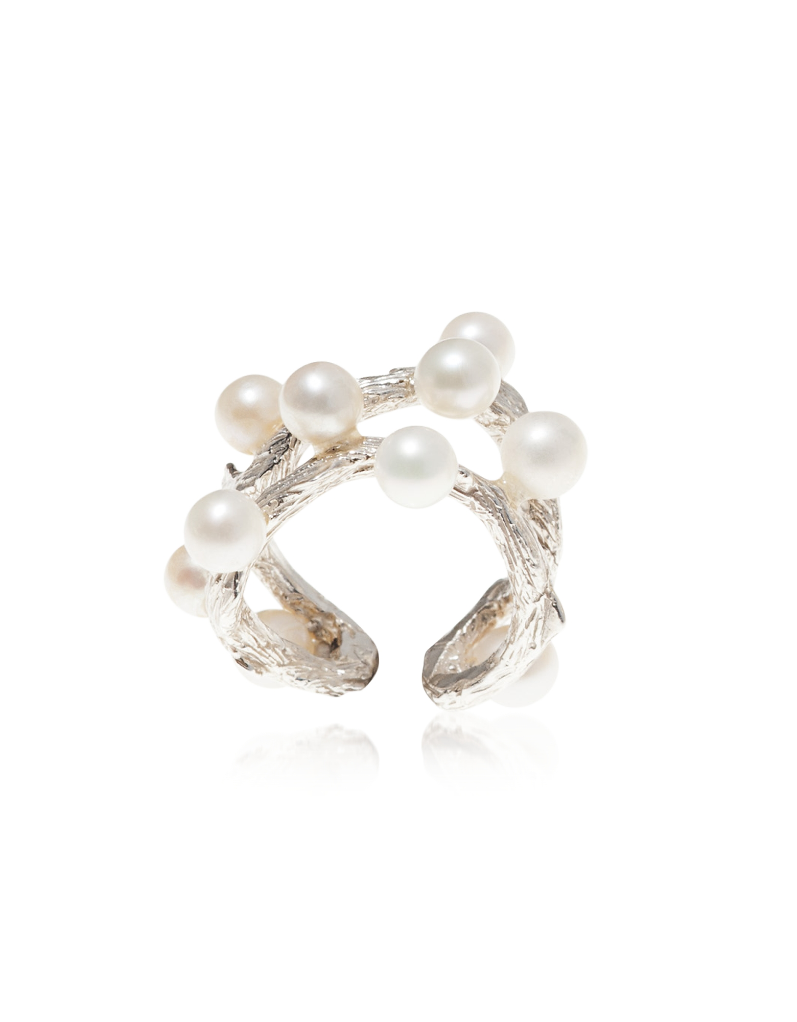 Thorny Branch Bronze Ring w/ Pearls