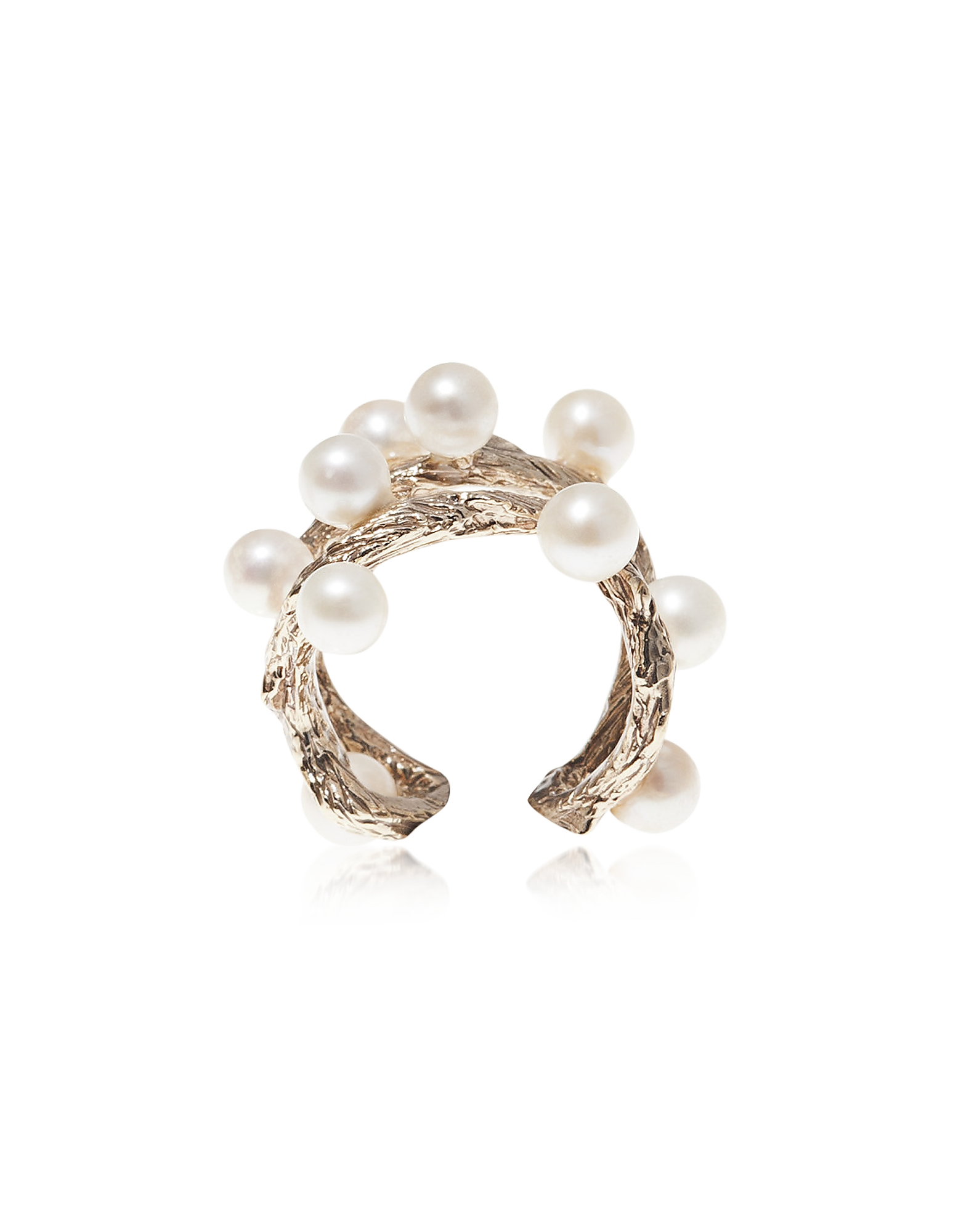 Thorny Branch Silver Ring w/ Pearls