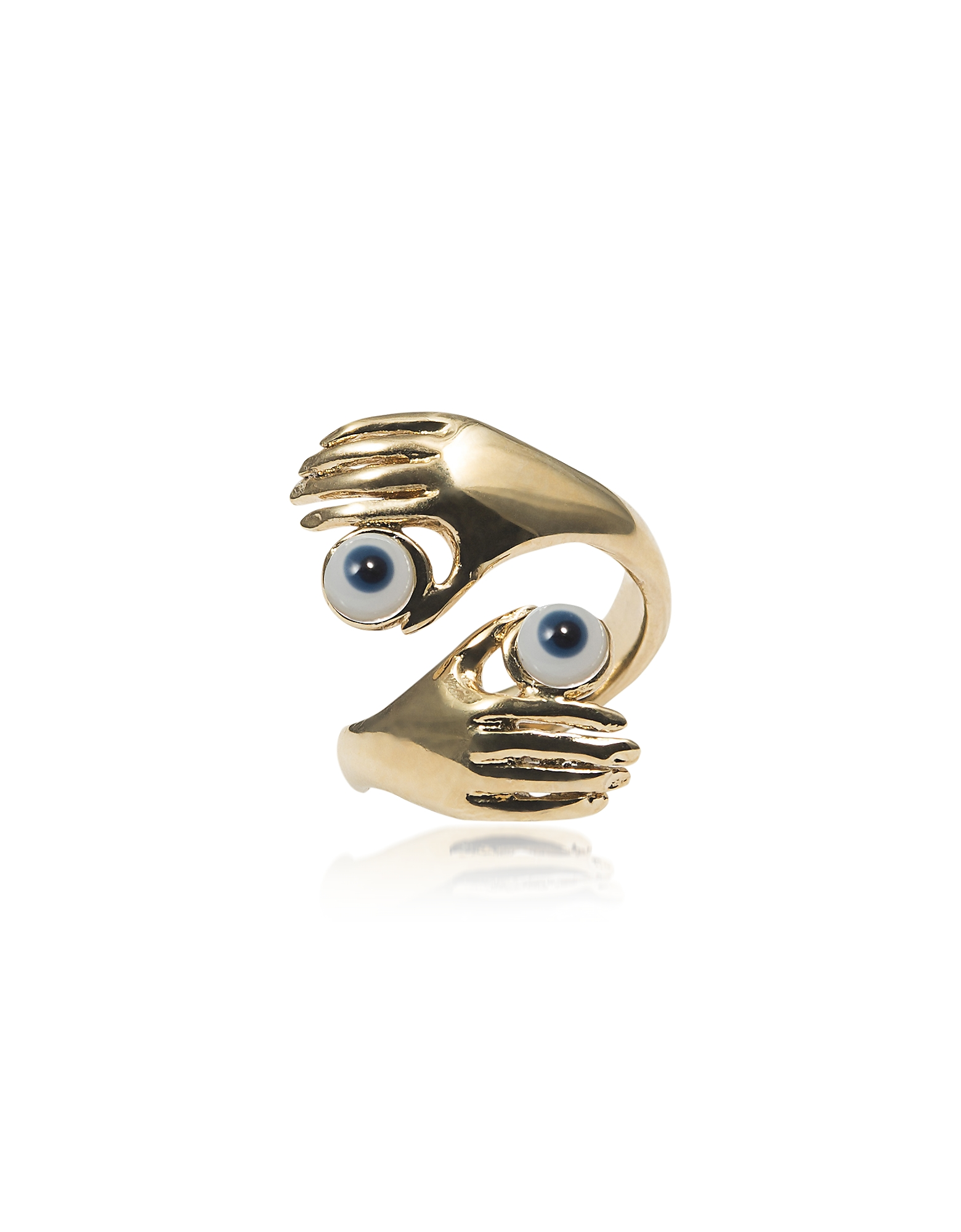 Contrarié Bronze Ring w/ Hands And Blue Eyes