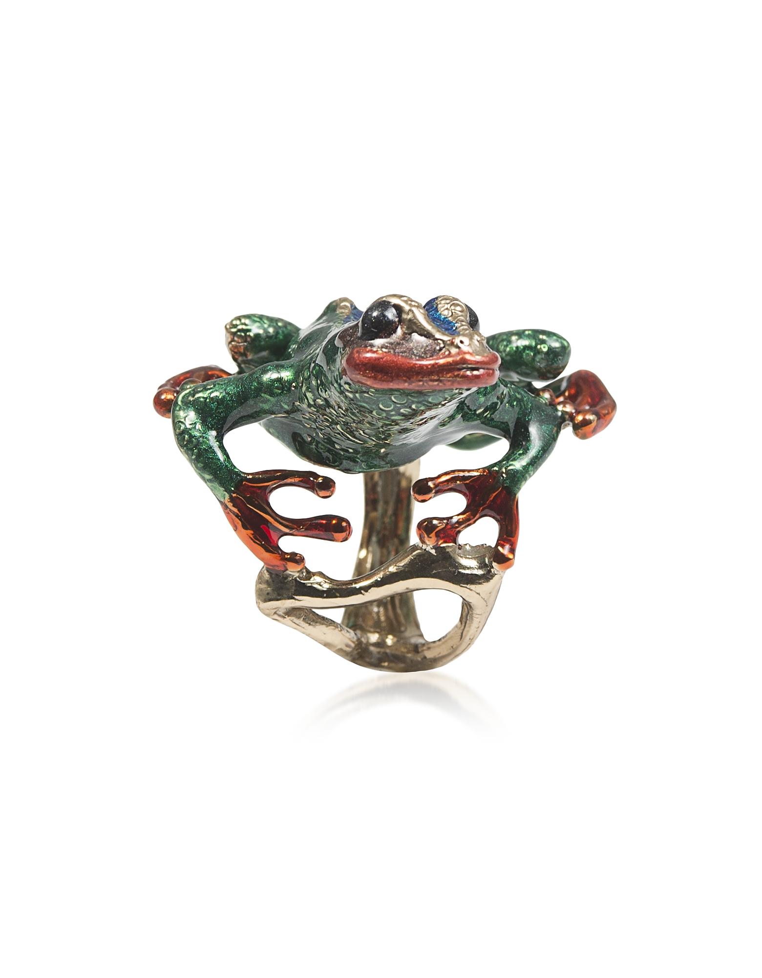 Long Froggy Bronze Ring w/ Enamel