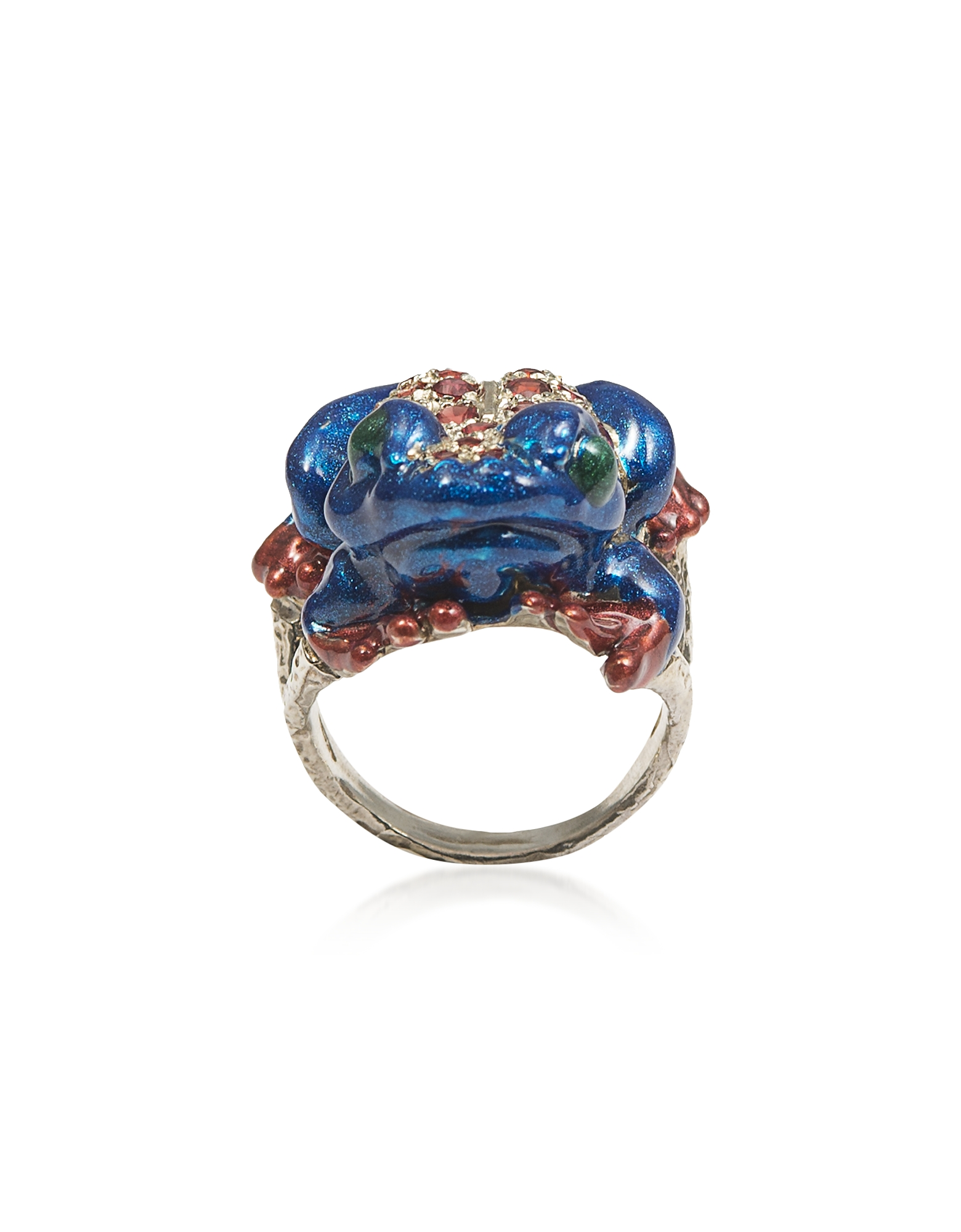 Silver Froggy Ring w/ Pavé Red Sapphires And Blue Enamel