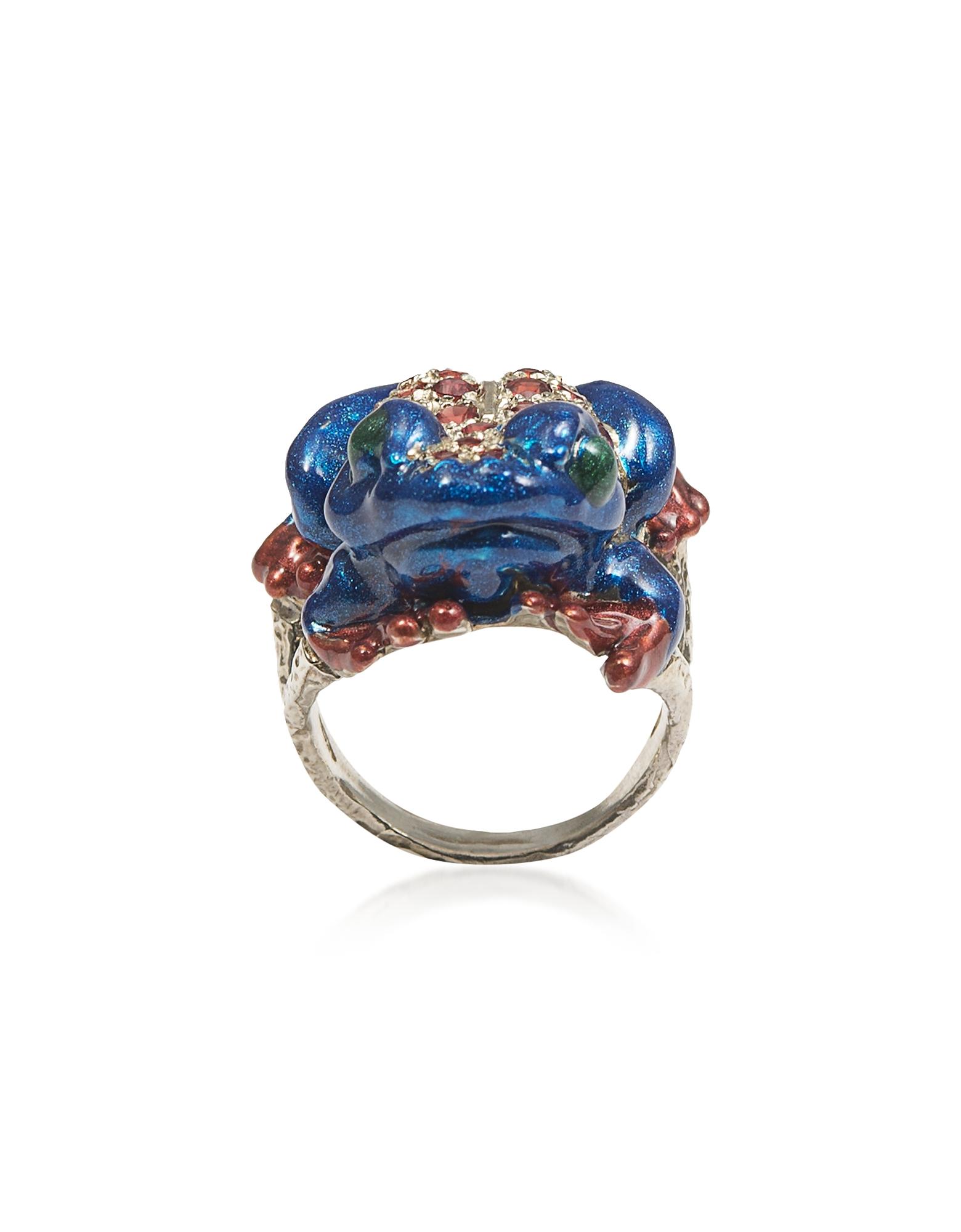 Froggy - Серебристое Кольцо с Паве Красных Сапфиров и Синей Эмалью