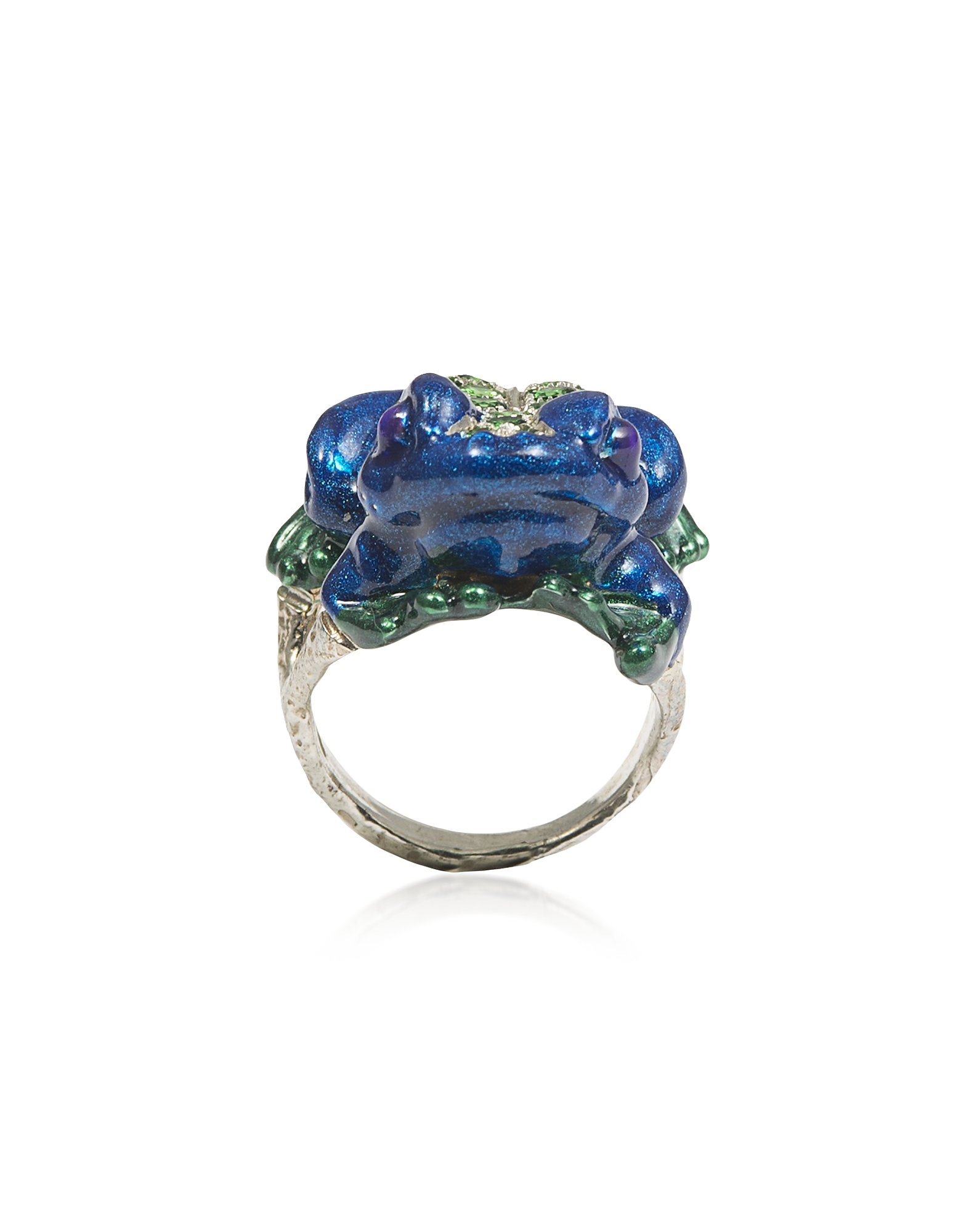 Silver Froggy Ring w/ Pavé Tsavorites And Blue Enamel